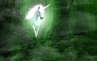A unicorn walking through an enchanted forest with giant trees