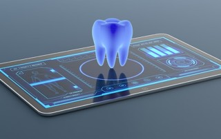Digital illustration of 3D, computerized tooth above a screen that gives information about the person who has the tooth