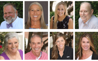 8 portraits of men and women smiling with dental implants